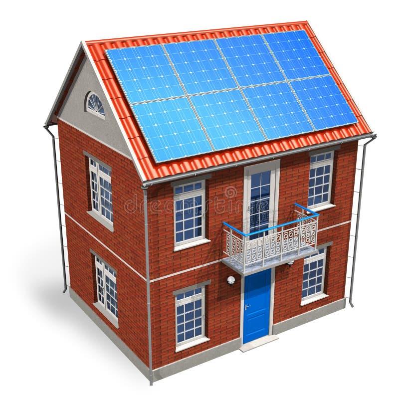 Huis met zonnebatterijen op het dak royalty-vrije illustratie