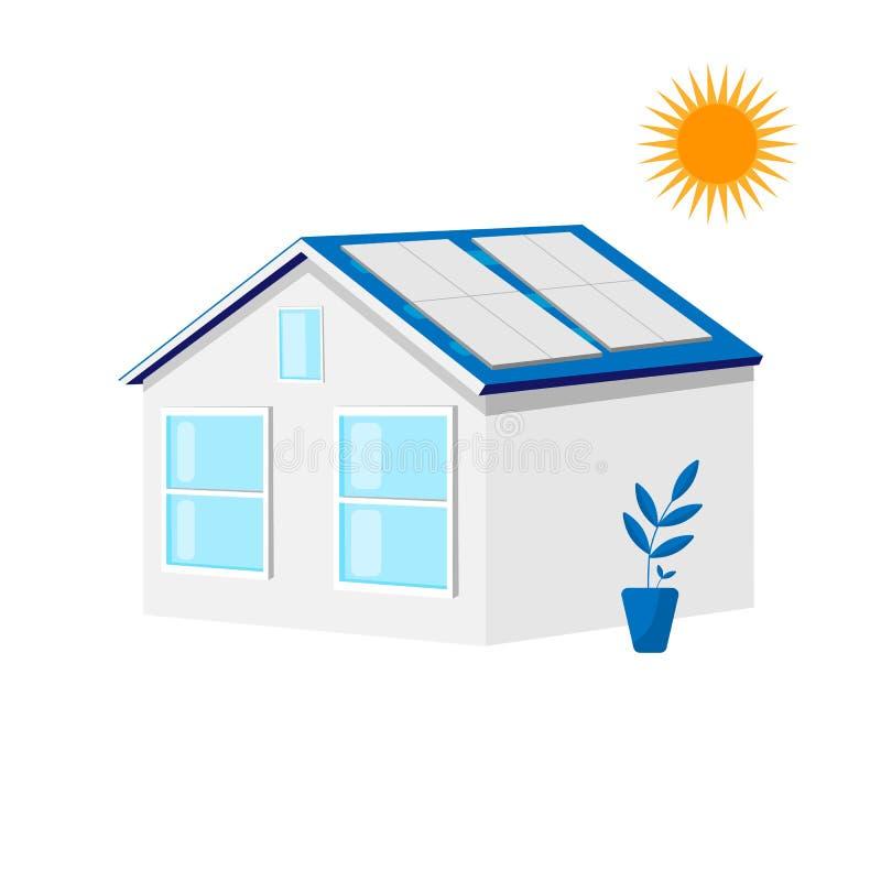 Huis met zonnedakpanelen Groene energie, ecologieconcept Energieontwerp royalty-vrije illustratie
