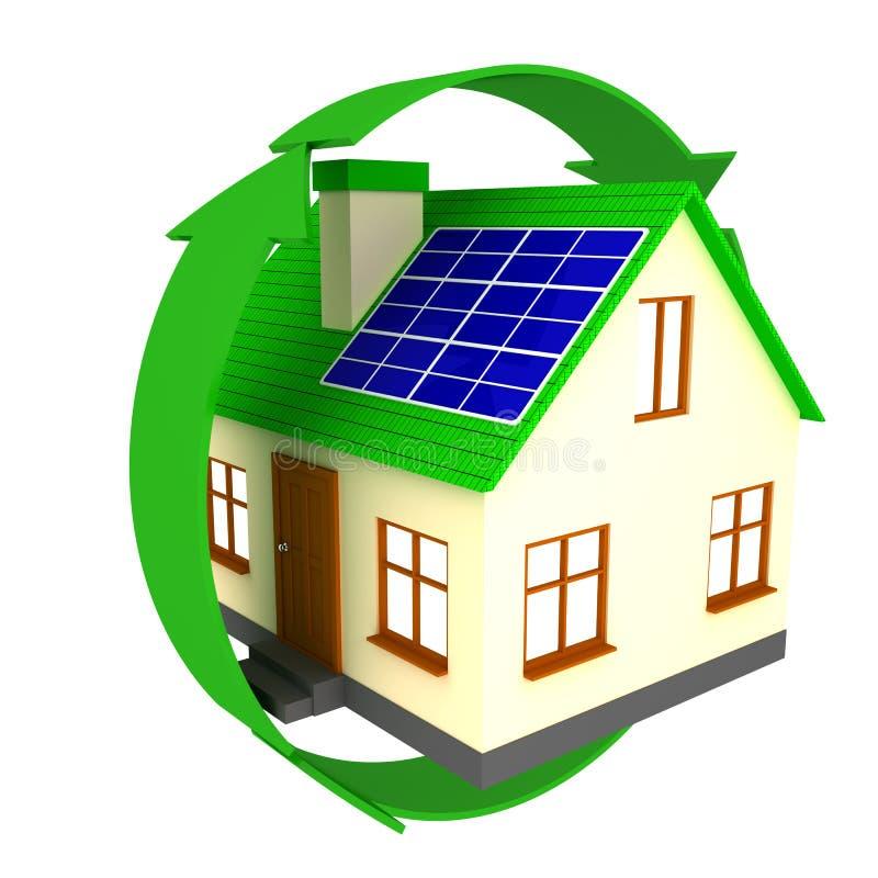 Huis met zonnepanelen stock illustratie