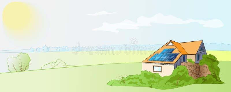 Huis met zonnepanelen royalty-vrije illustratie