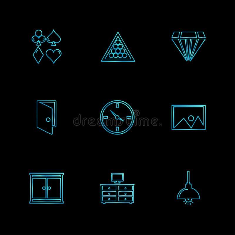 huis, meubilair, huishoudenpunten, huispunten, eps geplaatste pictogrammen royalty-vrije illustratie