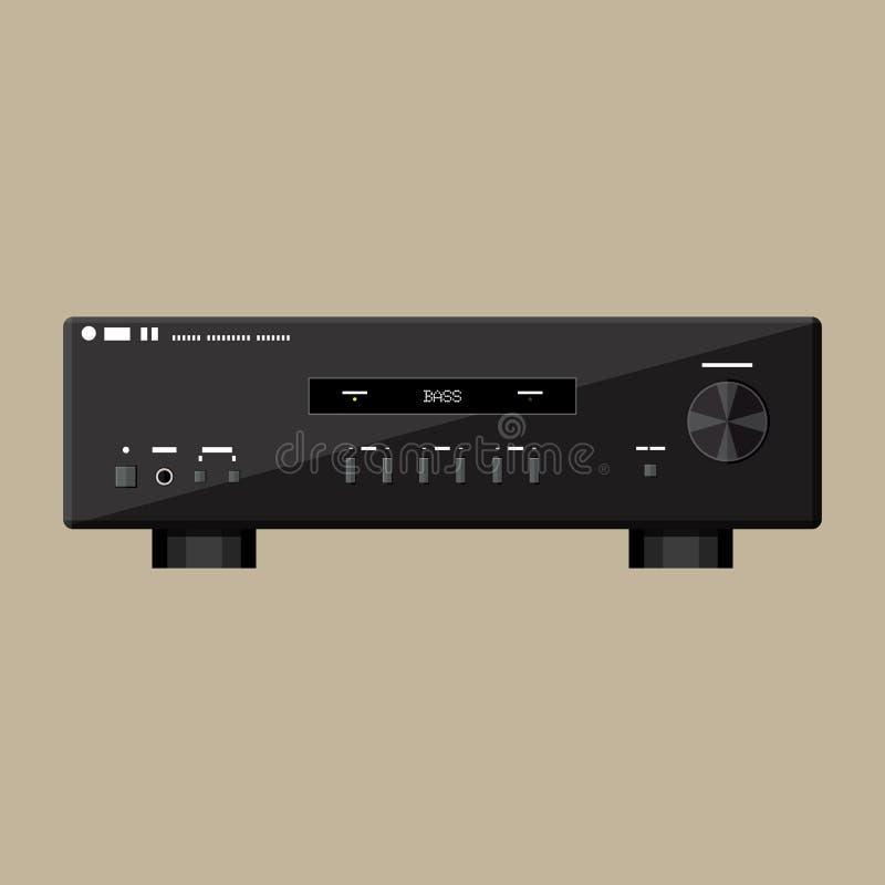 Huis moderne stereo correcte versterker in zwarte royalty-vrije illustratie