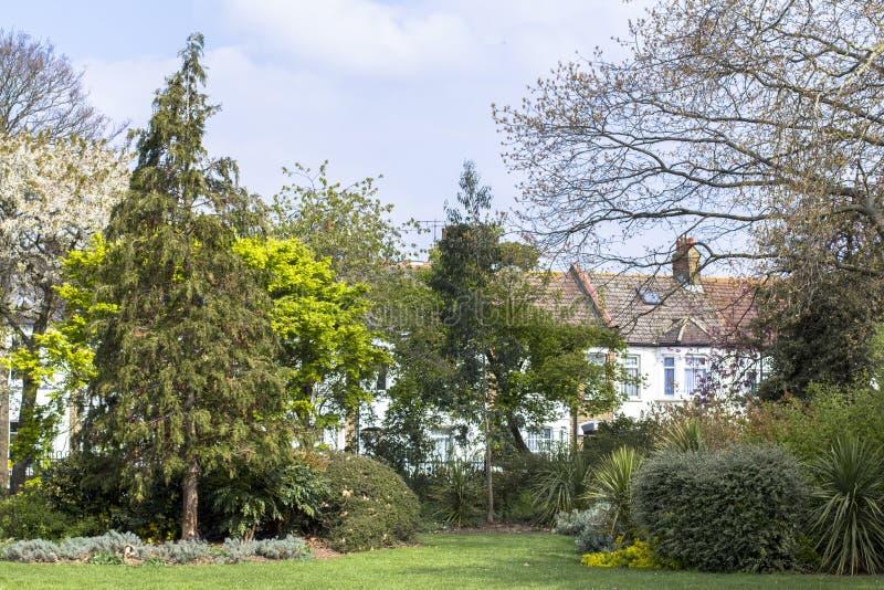 Huis naast het park Woonflats op een goed gebied Bloeiend gebied voor huisvesting royalty-vrije stock foto