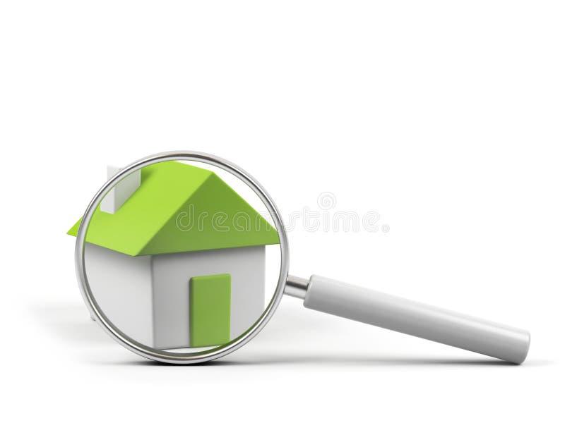 Huis onder loupe vector illustratie