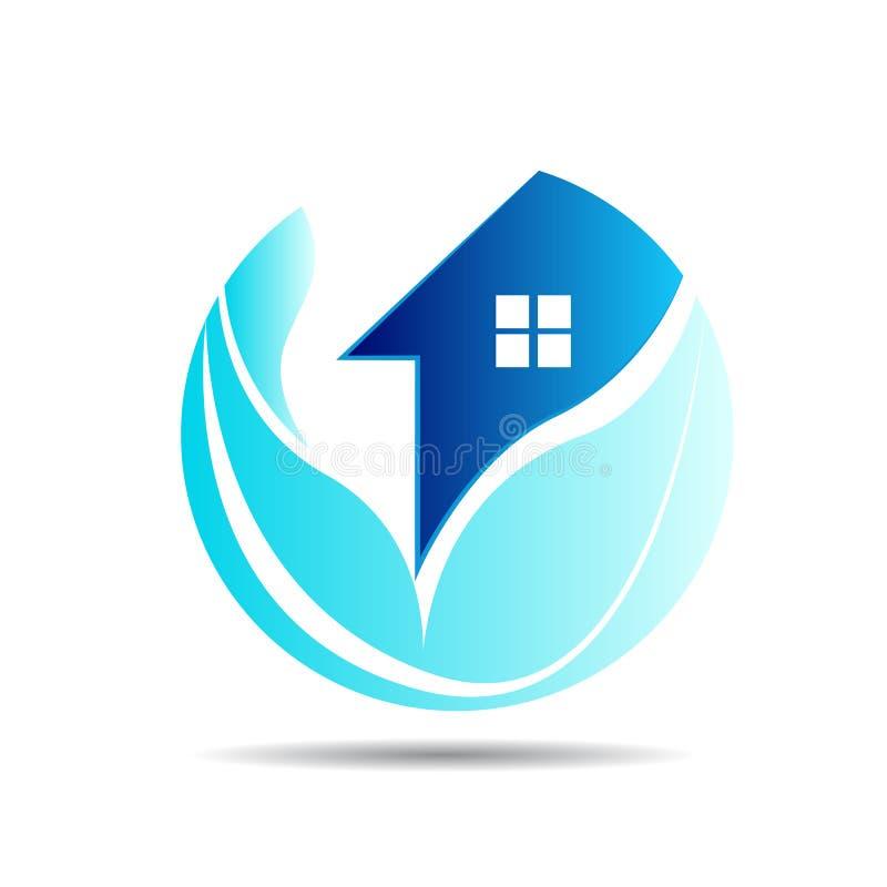 Huis, onroerende goederen huis, embleem, de cirkelbouw, architectuur, de blauwe van het de aardsymbool van de huisinstallatie vec royalty-vrije illustratie