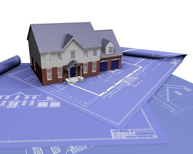 Huis op blauwdrukken vector illustratie