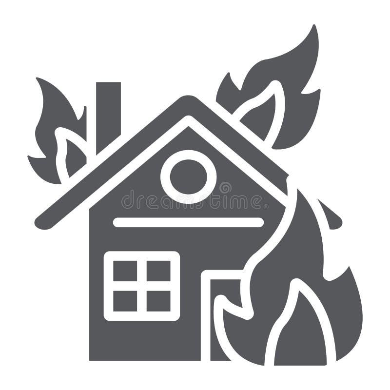 Huis op brand glyph pictogram, brandwond en ongeval, brandend huisteken, vectorafbeeldingen, een stevig patroon op een witte acht stock illustratie
