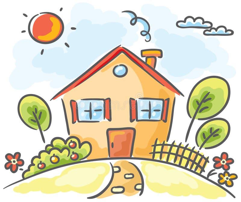 Huis op een heuvel stock illustratie