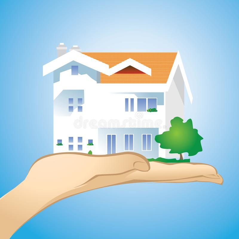 Huis op een palm met een blauwe achtergrond vector illustratie