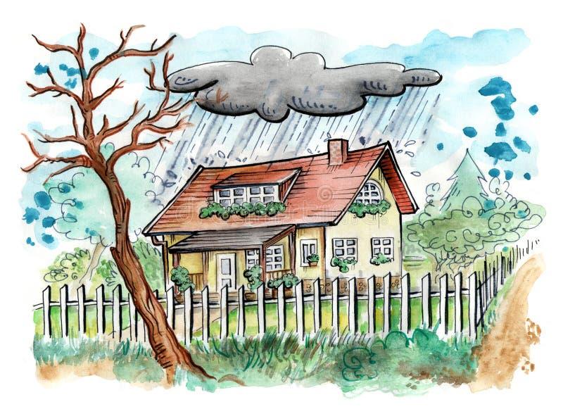 Huis op een regenachtige dag stock illustratie