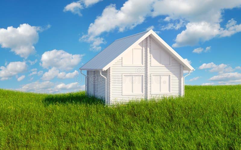 Huis op groen gras stock foto