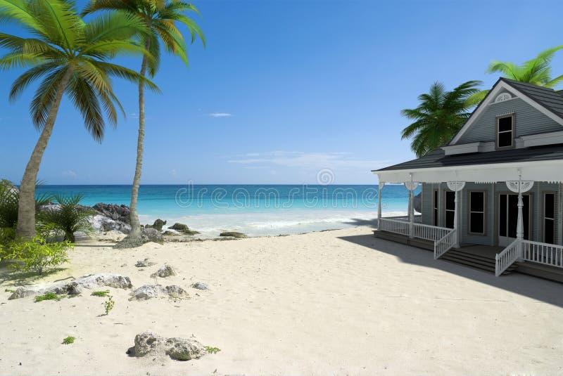 Huis op het strand royalty-vrije stock foto