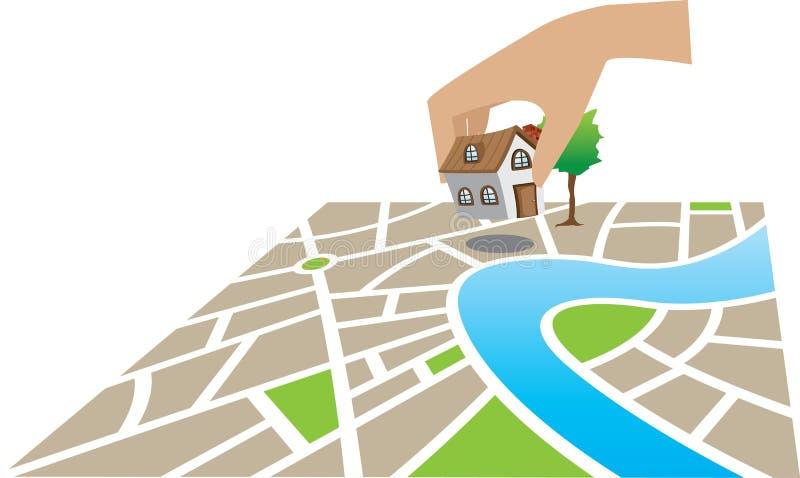 Huis op kaart royalty-vrije illustratie