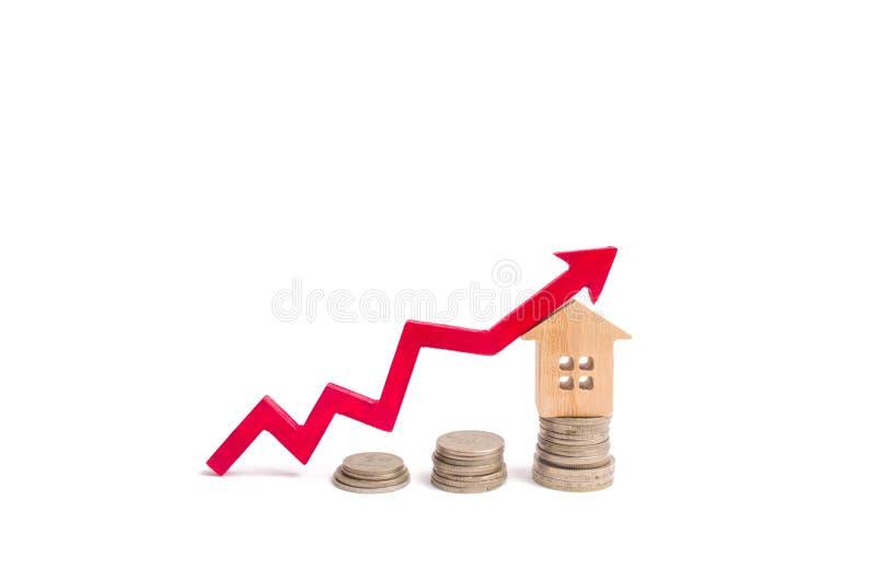 Huis op stuiver en pijl omhoog Het concept een stijging van prijs van bezit Verhogend de kosten om een bezit, huur te kopen inves royalty-vrije stock afbeelding