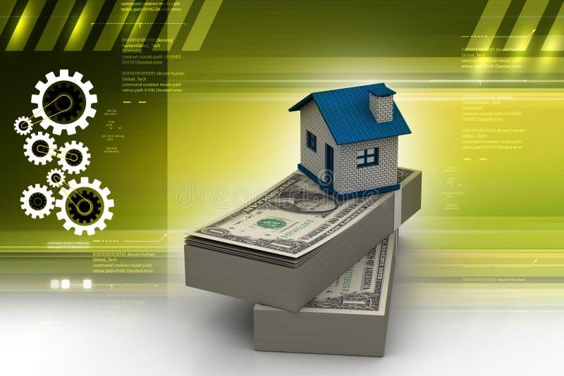 Huis op tope van dollarnota's wordt geplaatst op kleurenachtergrond die stock illustratie