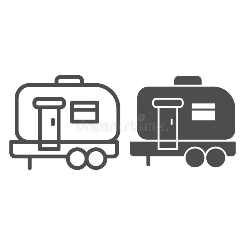 Huis op wielenlijn en glyph pictogram De vectordieillustratie van het Moovingshuis op wit wordt geïsoleerd Het ontwerp van de he vector illustratie