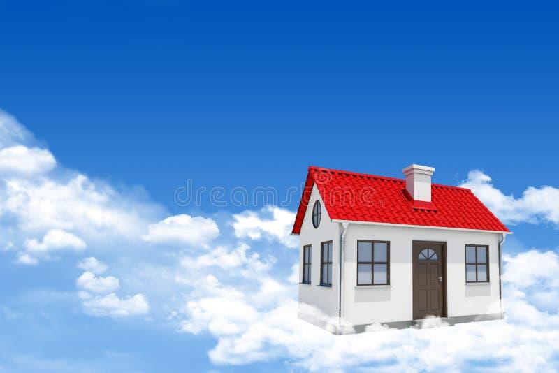 Huis op wolken stock fotografie
