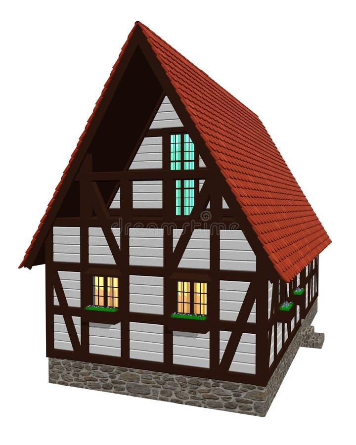 Huis in oude Duitse stijl stock afbeelding