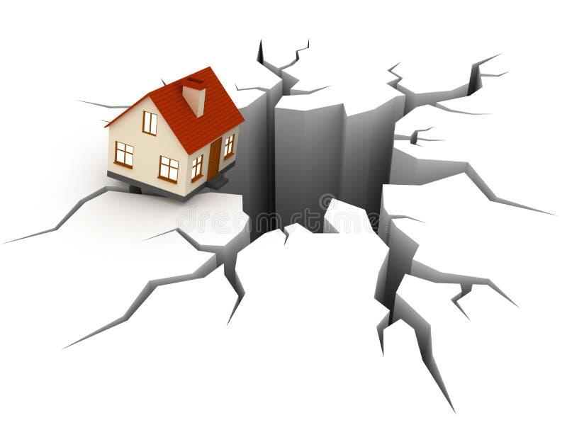 Huis over afgrond stock illustratie