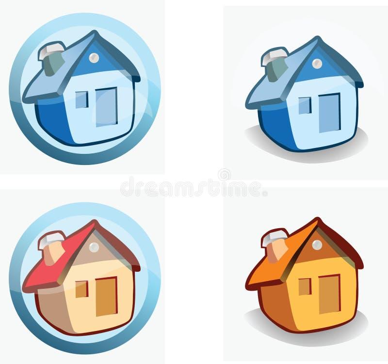 Huis - pictogrammen royalty-vrije stock foto