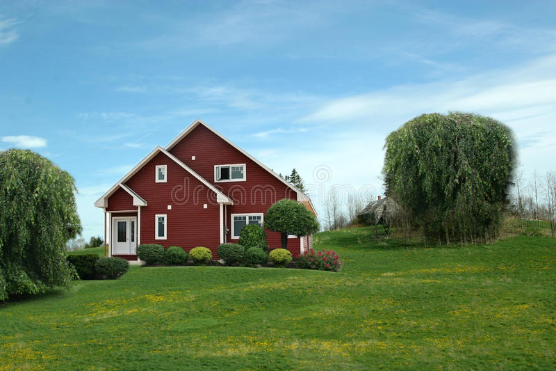 Huis in platteland stock foto