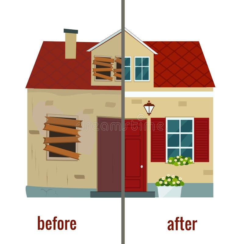 Huis before and after reparatie vectorillustratie vector illustratie