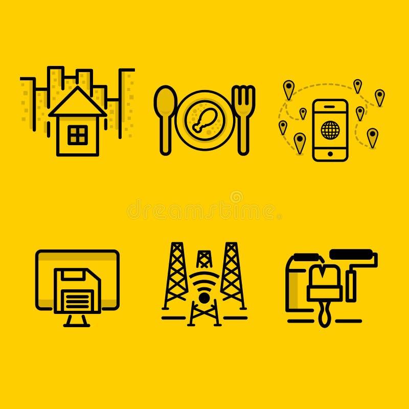 Download Huis, Restaurant, Sparen Aandrijving, Signaal, Vernieuwingspictogram In Pak Vector Illustratie - Illustratie bestaande uit elegant, idee: 114227469