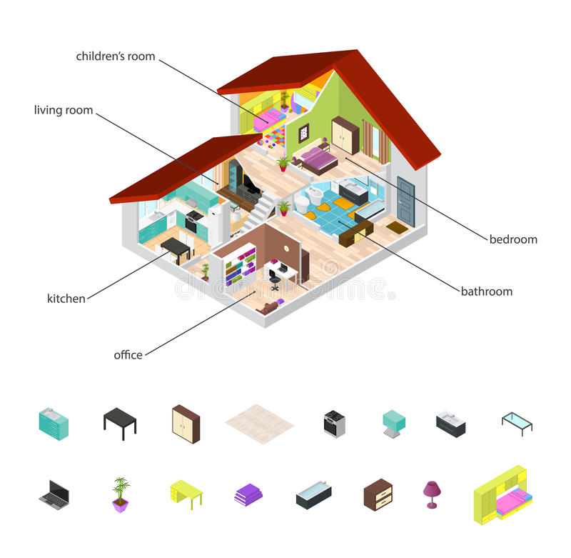 Huis in Schema en Elementen Vastgestelde Isometrische Mening Vector stock illustratie