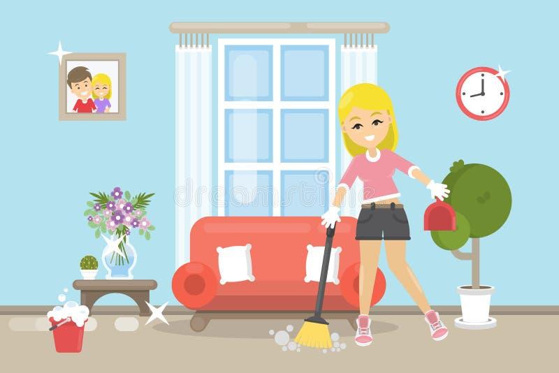 Huis schoonmakende illustratie stock illustratie