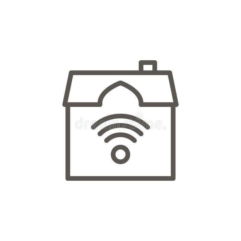 Huis, slim, het vectorpictogram van WiFi Eenvoudige elementenillustratie van UI-concept Huis, slim, het vectorpictogram van WiFi  royalty-vrije illustratie