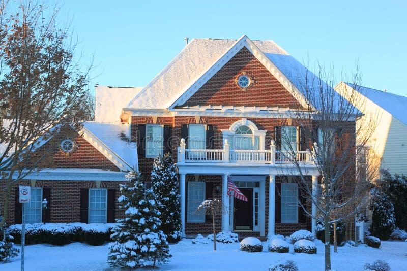 Huis in Sneeuw stock afbeelding