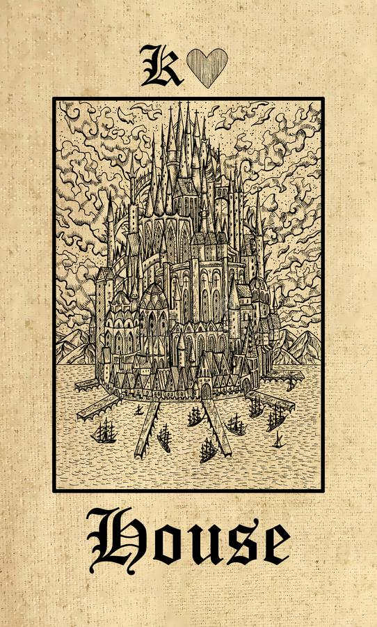 Huis Tarotkaart van dek van het de Geheimenorakel van Lenormand het Gotische royalty-vrije illustratie