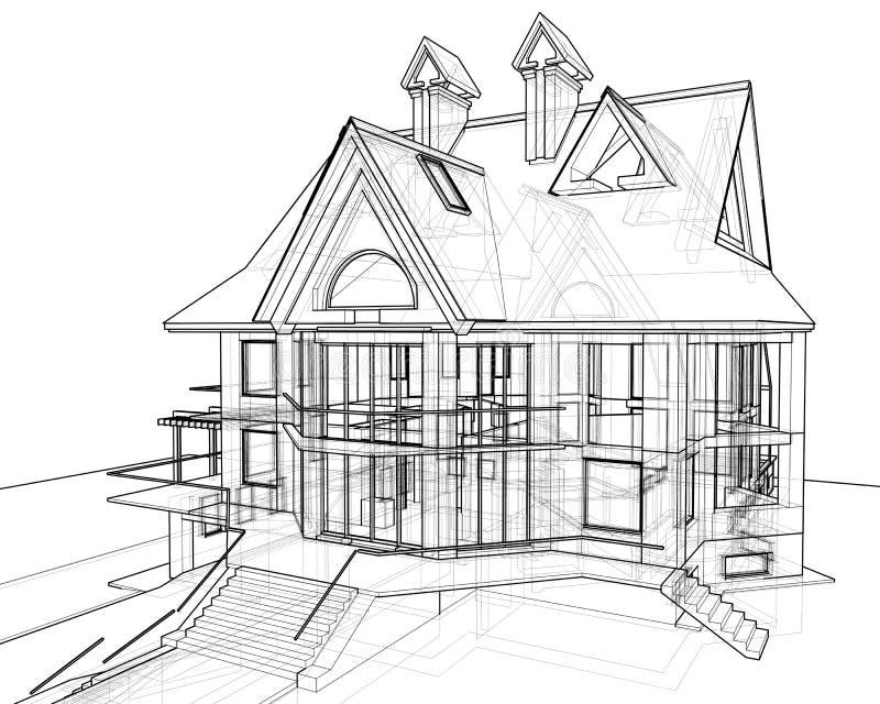 Huis: technisch trek vector illustratie