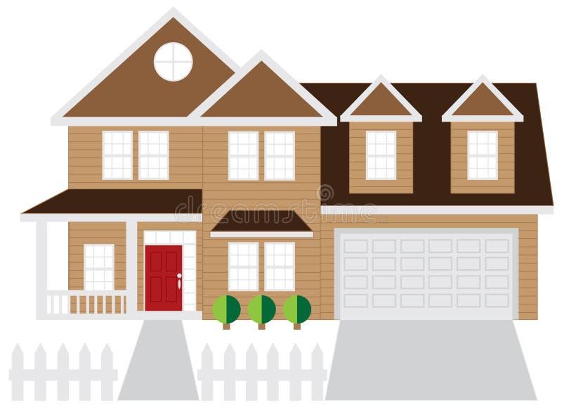 Huis Twee de Kleur van de Autogarage vector illustratie