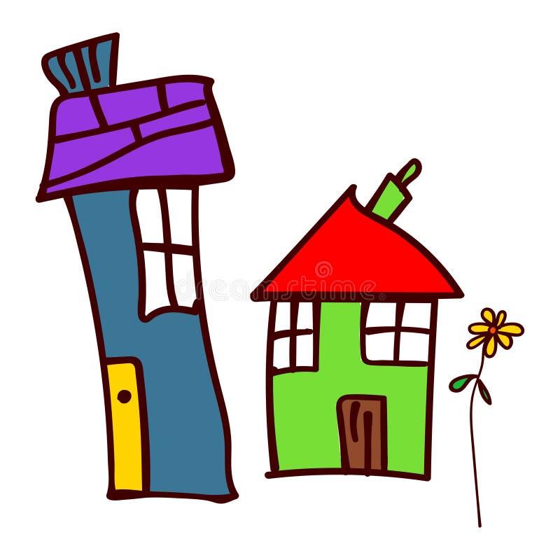 Huis twee en bloem in stijl van de tekening van kinderen stock illustratie