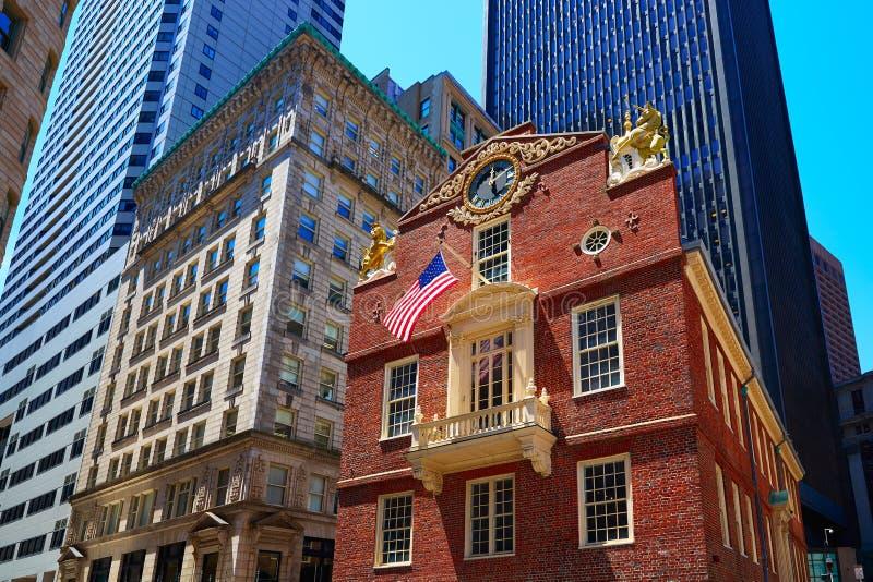 Huis van de Staat van Boston het Oude in Massachusetts royalty-vrije stock afbeelding