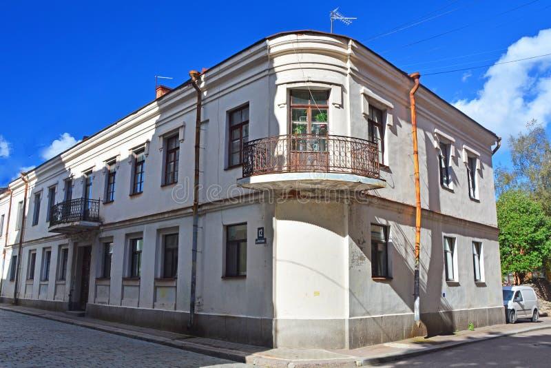 Huis van het eind van de 18de eeuw van koopvaardijjohan philipp yanish in Vyborg, Rusland royalty-vrije stock afbeeldingen