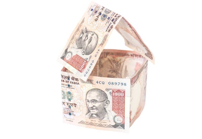 Huis van Indische 1000 Roepiesbankbiljetten dat wordt gemaakt royalty-vrije stock foto