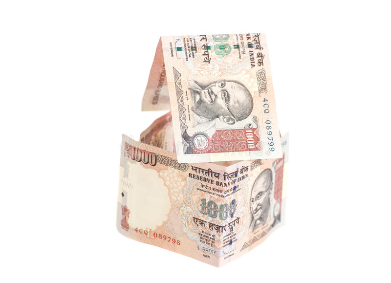 Huis van Indische 1000 Roepiesbankbiljetten dat wordt gemaakt royalty-vrije stock fotografie