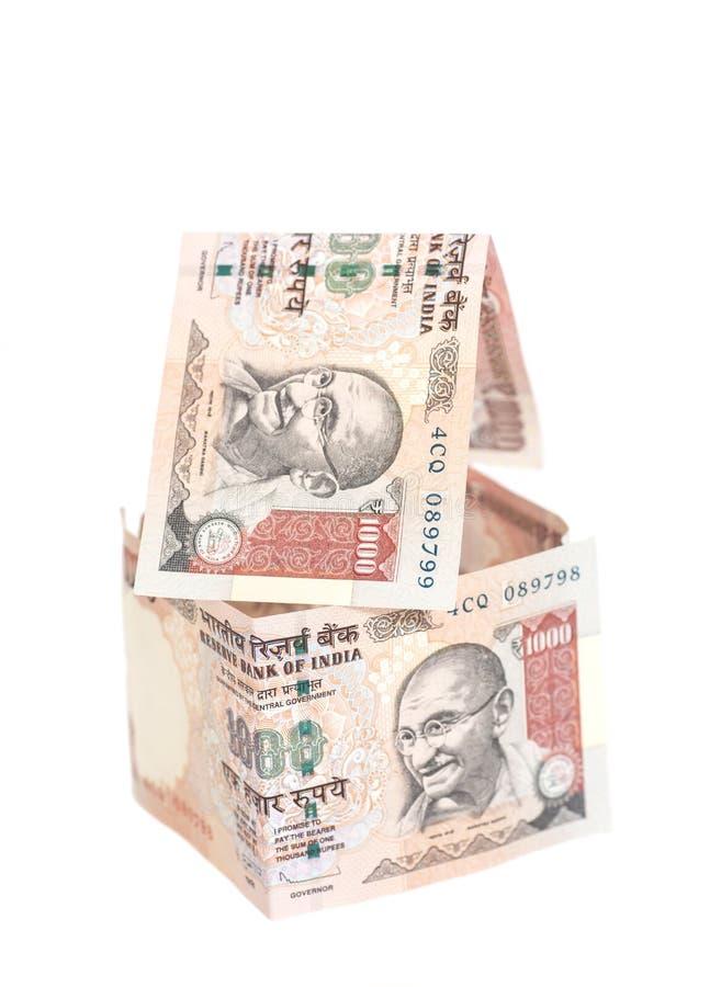 Huis van Indische 1000 Roepiesbankbiljetten dat wordt gemaakt royalty-vrije stock foto's