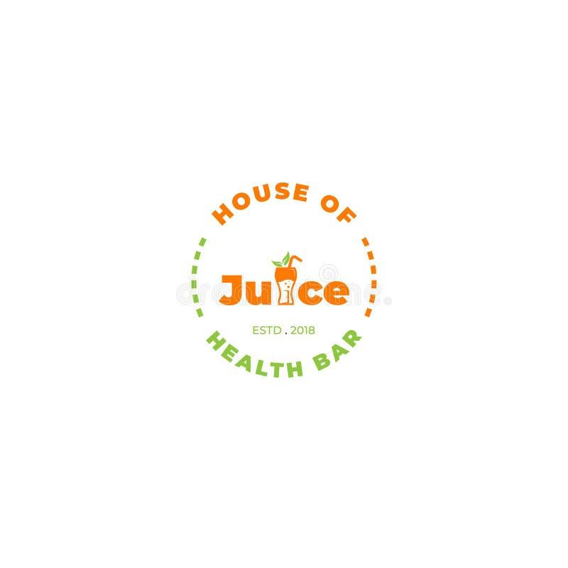 Huis van Juice Logo-verstand het Van letters voorzien royalty-vrije illustratie