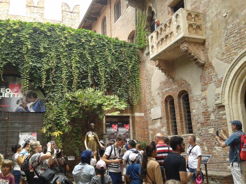 Huis van Juliet in Verona stock foto's