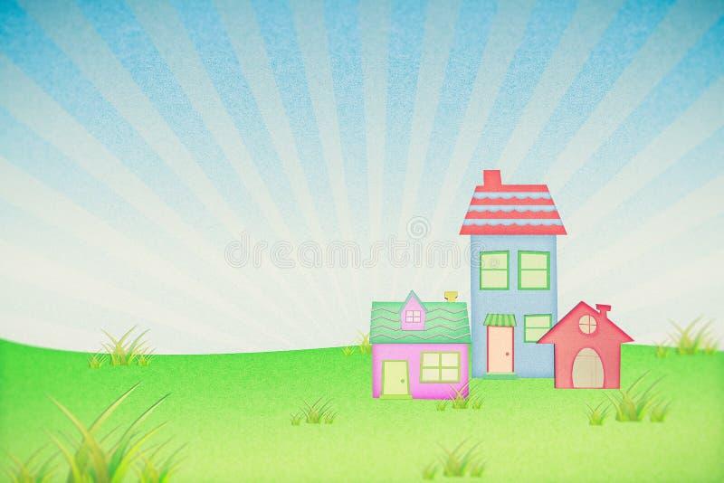 Huis van kringloopdocument met grasgebied stock afbeeldingen