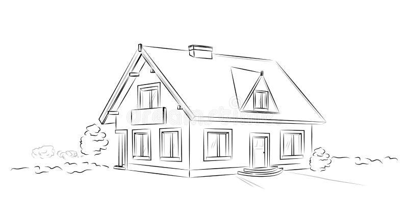 Huis van overzichts het architecturale schets losgemaakte tarditional - vectorconcept royalty-vrije illustratie