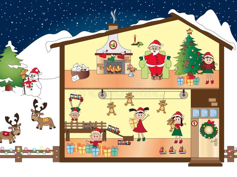 Huis van Santa Claus stock illustratie