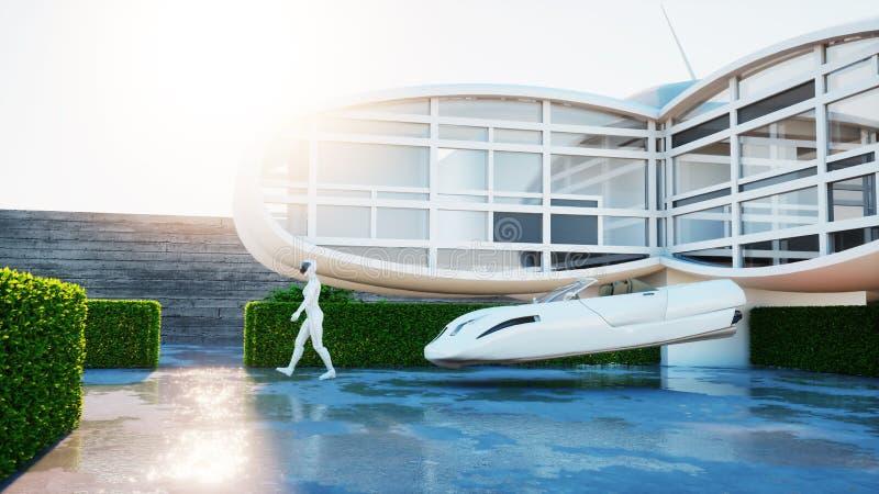Huis van toekomst Futuristische vliegende auto met lopende vrouw het 3d teruggeven royalty-vrije illustratie