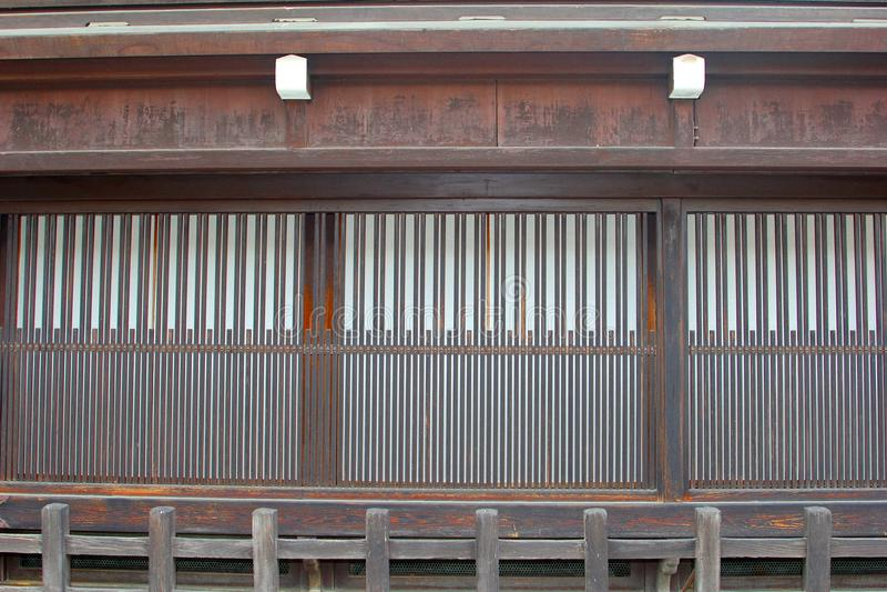 Huis van voorgevel het oude houten Japanse, Takayama, Japan stock afbeeldingen