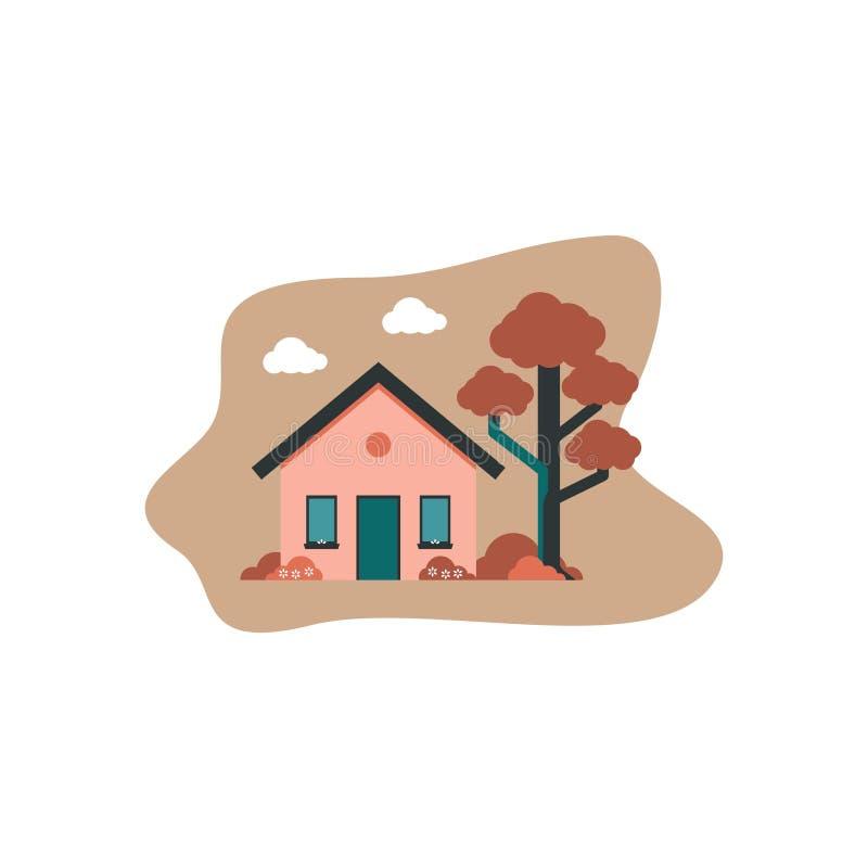 Huis vlak ontwerp royalty-vrije illustratie