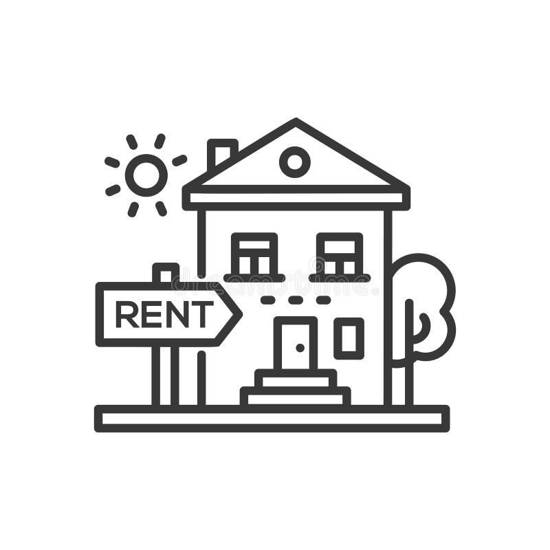 Huis voor huur - het enige geïsoleerde pictogram van het lijnontwerp royalty-vrije illustratie