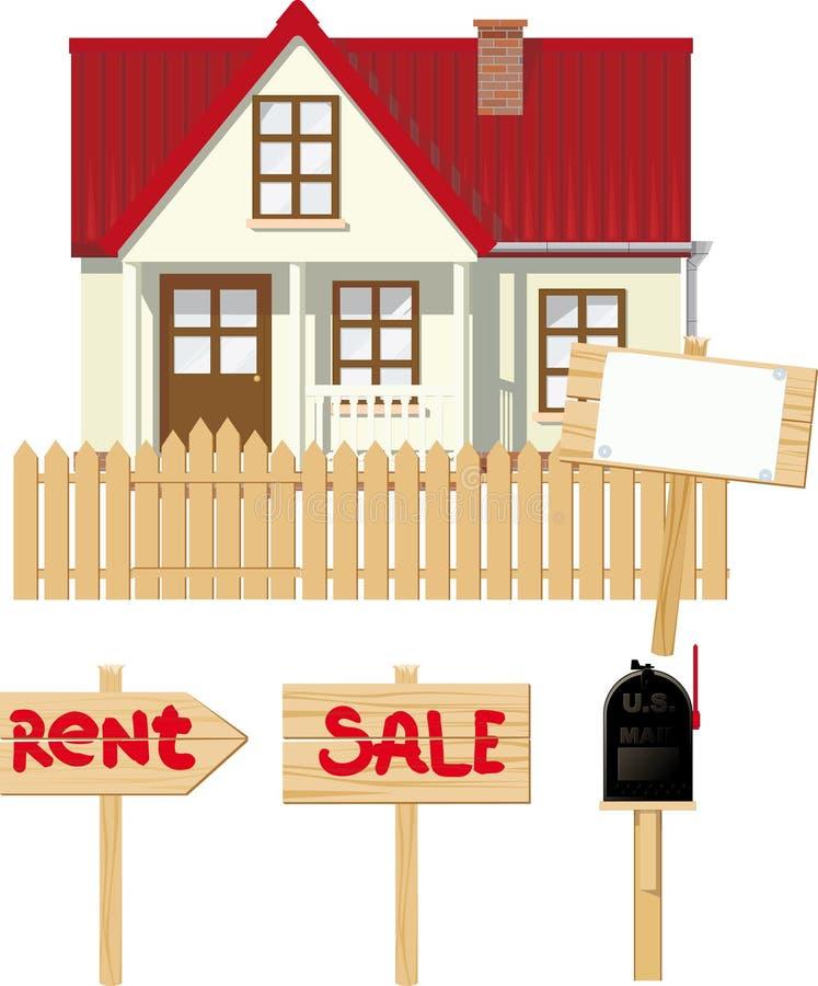 Huis voor Huur of verkoop royalty-vrije illustratie